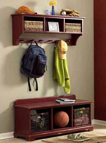 Entry-area storage bench & wall shelf