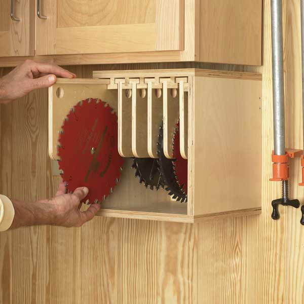 Tablesaw Blade Locker Woodworking Plan, Workshop & Jigs Shop Cabinets, Storage, & Organizers