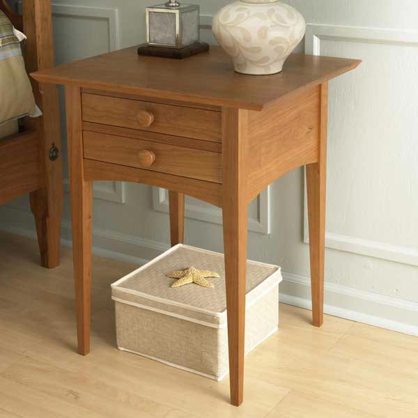 Pencil post bed nightstand woodworking plan from wood magazine for Nightstand plans