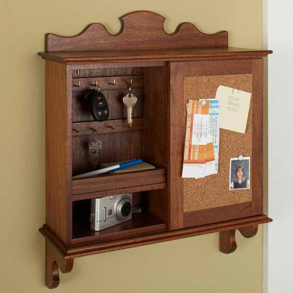 Sliding-Door Hideaway Wall Organizer Woodworking Plan, Furniture Cabinets & Storage