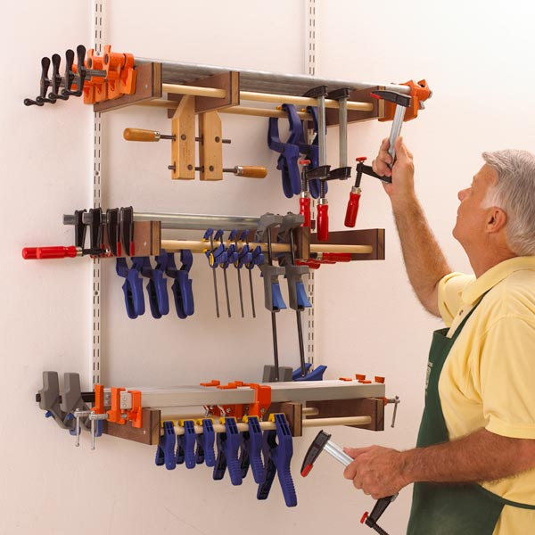 Universal Clamp Rack Woodworking Plan, Workshop & Jigs Shop Cabinets, Storage, & Organizers