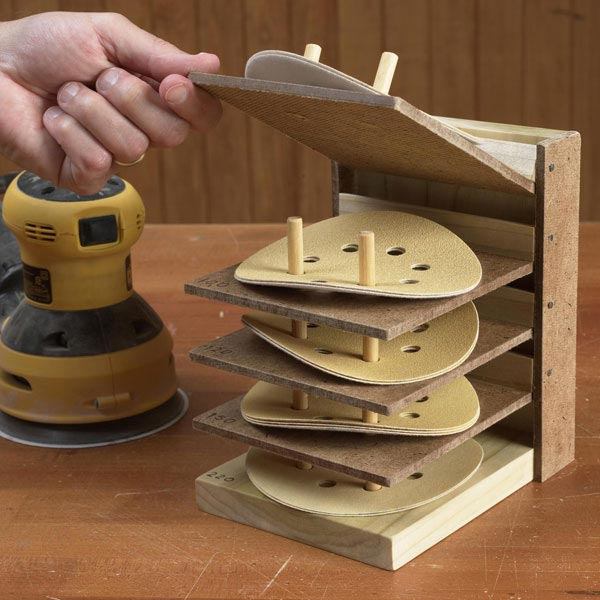 Flip-Up Sanding Disc Caddy Woodworking Plan, Workshop & Jigs Shop Cabinets, Storage, & Organizers Workshop & Jigs $2 Shop Plans