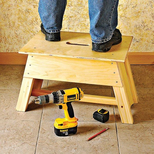 Stool & Tool-Tote Combo Woodworking Plan, Workshop & Jigs Shop Cabinets, Storage, & Organizers Workshop & Jigs $2 Shop Plans