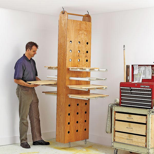 Drop-Down Drying Rack Woodworking Plan from WOOD Magazine