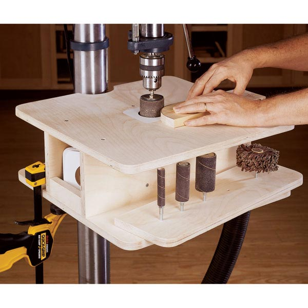 drill press drum sanding table woodworking plan from wood. Black Bedroom Furniture Sets. Home Design Ideas