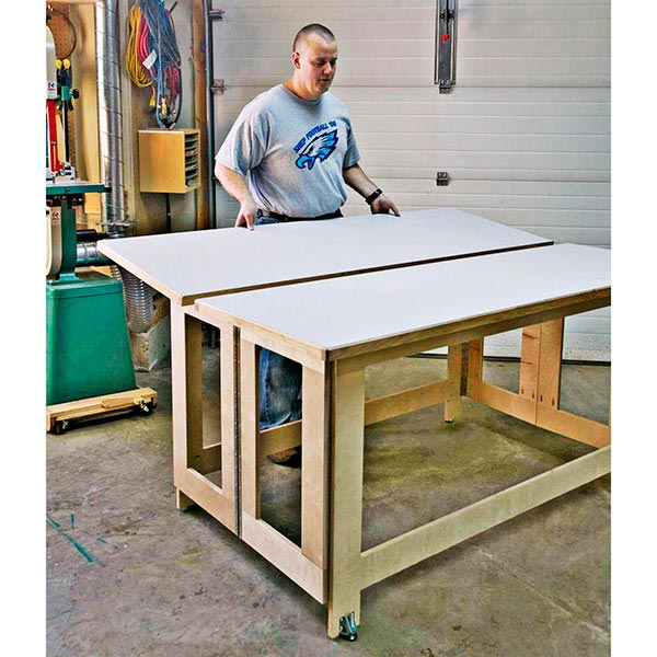 folding assembly table woodworking plan from wood magazine