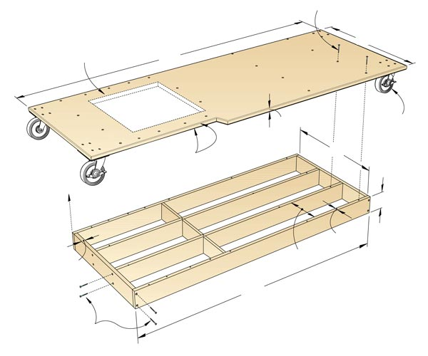 Torsion-Box Mobile Base Woodworking Plan, Workshop & Jigs Tool Bases & Stands Workshop & Jigs $2 Shop Plans