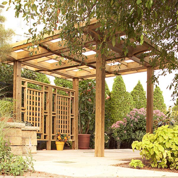 Made in the shade pergola woodworking plan from wood magazine for Outdoor structure plans