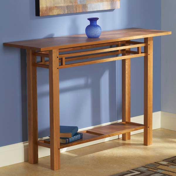 Easy and elegant hall table woodworking plan from wood for Easy entry cart plans