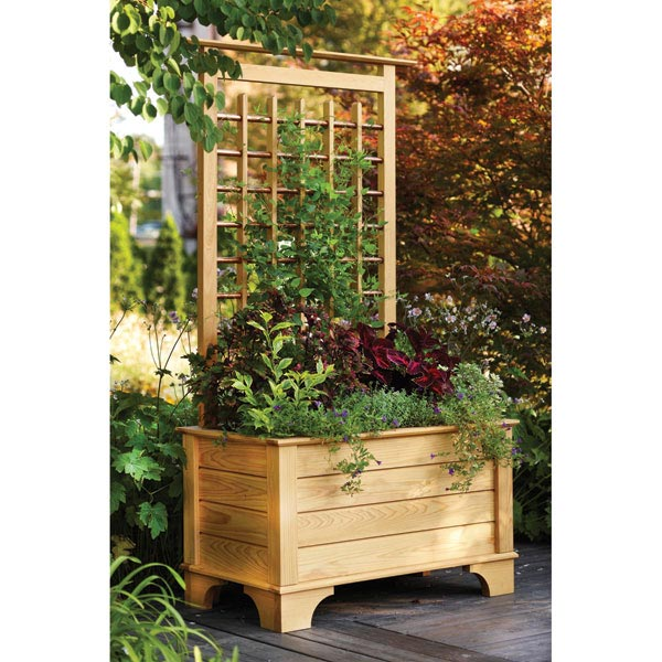 Planter Box and Trellis Woodworking Plan, Outdoor Planters