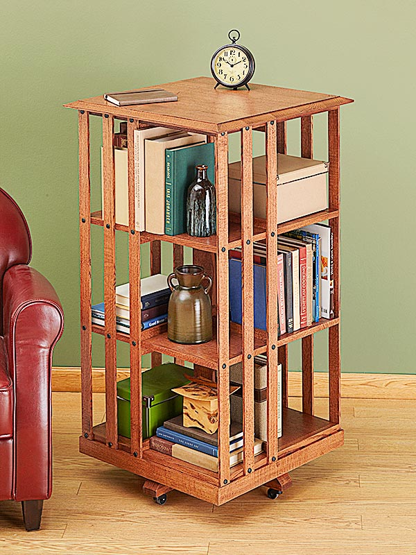 Revolving Danner-inspired Bookcase Woodworking Plan, Furniture Bookcases & Shelving