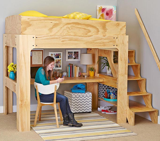 Loft bed and desk woodworking plan from wood magazine for Bunk bed woodworking plans