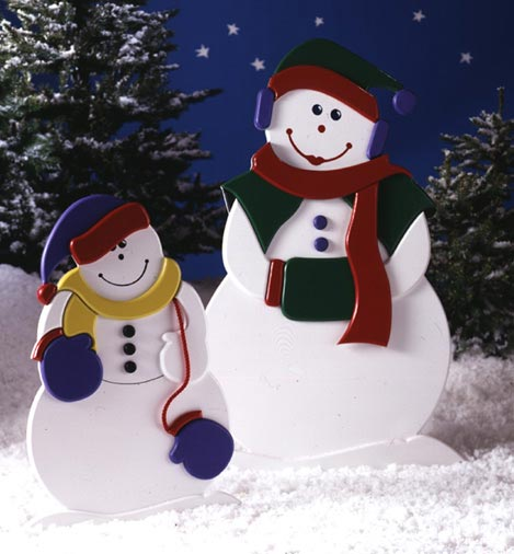 Mrs. Snow and Child : Large-format Paper Woodworking PlanOutdoor Seasonal Yard Figures Holidays