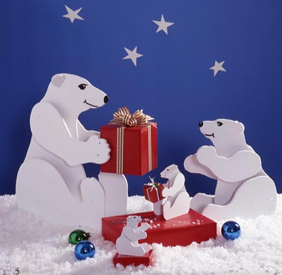 Medium & Small Polar Bears : Large-format Paper Woodworking PlanGifts & Decorations Scrollsaw, Carving, & Decorative Projects Holidays