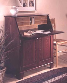 Drop-Front Writing Desk Woodworking Plan, Furniture Desks