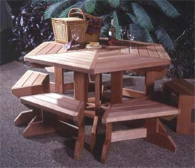 Picnic Table Suite Woodworking Plan, Outdoor Outdoor Furniture