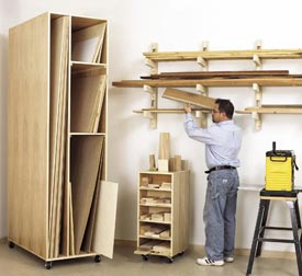 Triple-Threat Storage for Lumber, Scraps, and Sheet Goods Printed Plan
