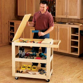 Getr-Done Shop Cart Woodworking Plan, Workshop & Jigs Shop Cabinets, Storage, & Organizers