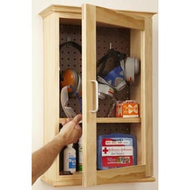 Safety-Gear Cabinet Woodworking Plan, Workshop & Jigs Shop Cabinets, Storage, & Organizers