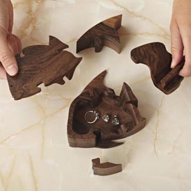 Double-Locking Angelfish Puzzle Box