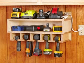 Cordless Tool Station Woodworking Plan, Workshop & Jigs Shop Cabinets, Storage, & Organizers Workshop & Jigs $2 Shop Plans