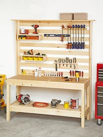 Workbench with Wall Storage Woodworking Plan, Workshop & Jigs Workbenches Workshop & Jigs Shop Cabinets, Storage, & Organizers