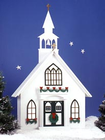 Americana Village? Holiday Church : Large-format Paper Woodworking Plan