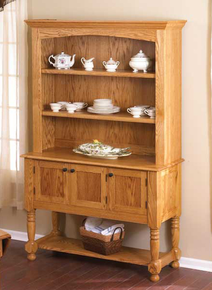 Classic country oak hutch woodworking plan from wood magazine for Wood hutch plans