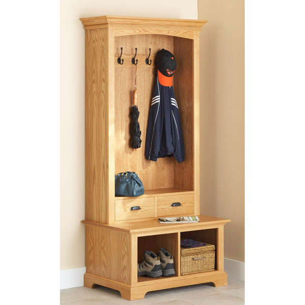 Hall Tree Storage Bench Woodworking Plan, Furniture Seating Furniture ...