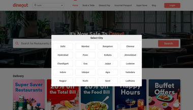 dineout.co.in Screenshot