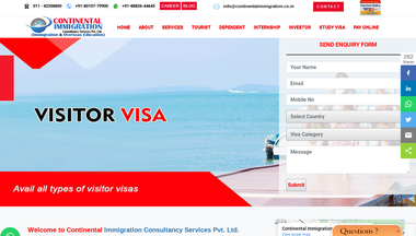 continentalimmigration.co.in Screenshot