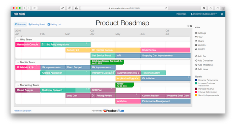 Product Plan Dashboard