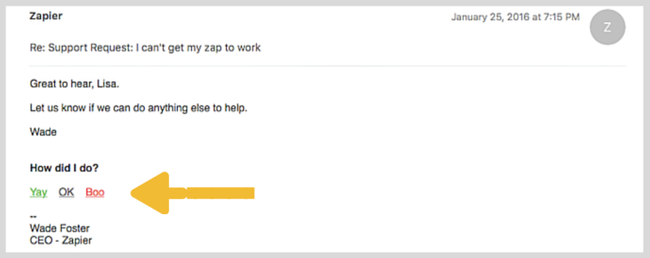 Feedback survey embedded in email