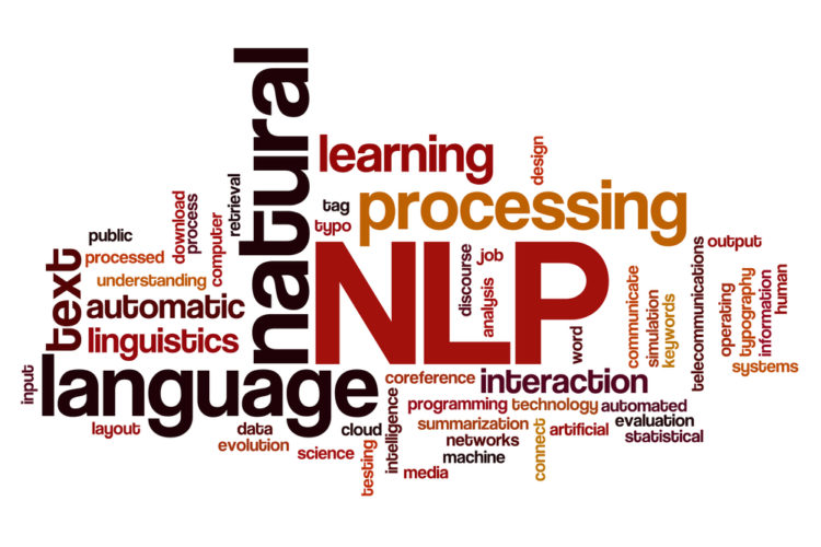 Natural language processing concept word cloud background