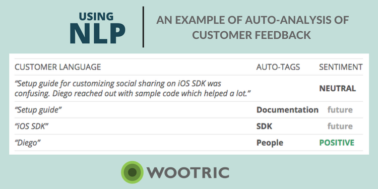 USing NLP: Example of Auto analysis of Customer Feedback