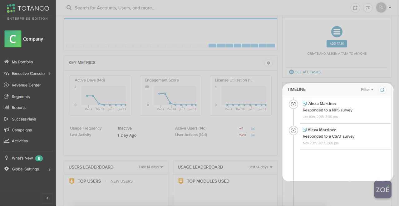 Tatango dashboard with Wootric NPs timeline feed