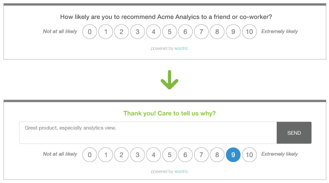 in-app NPS survey graphic Acme Analytics example