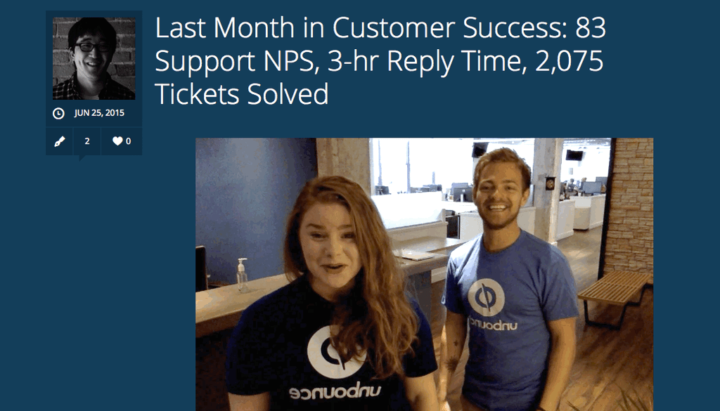 Unbounce shares NPS score monthly on its blog