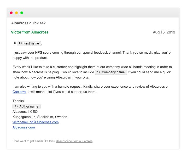 Detractor email