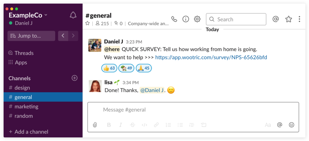 employee pulse work from home survey link in Slack message