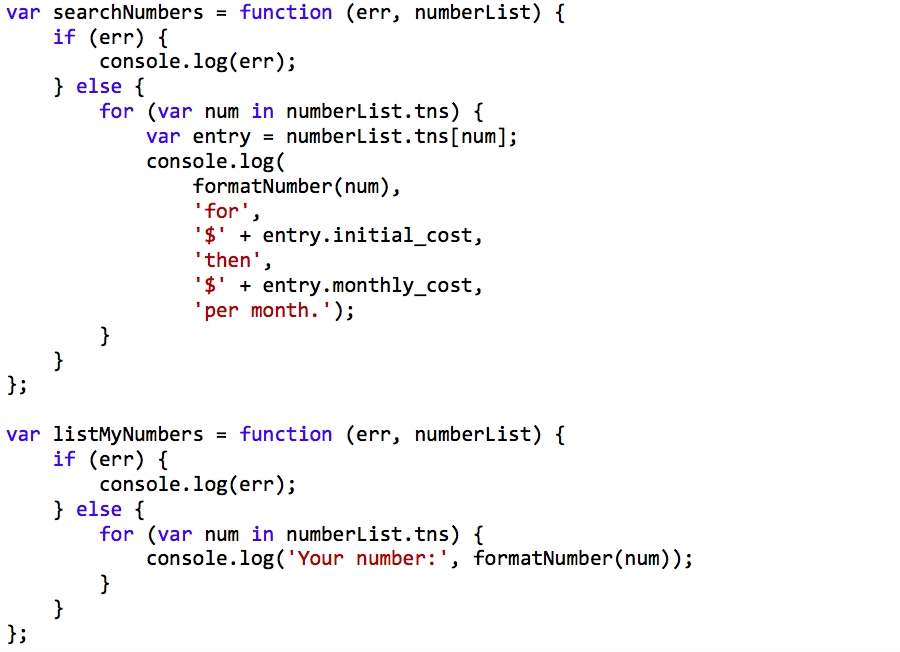 Configure numbers