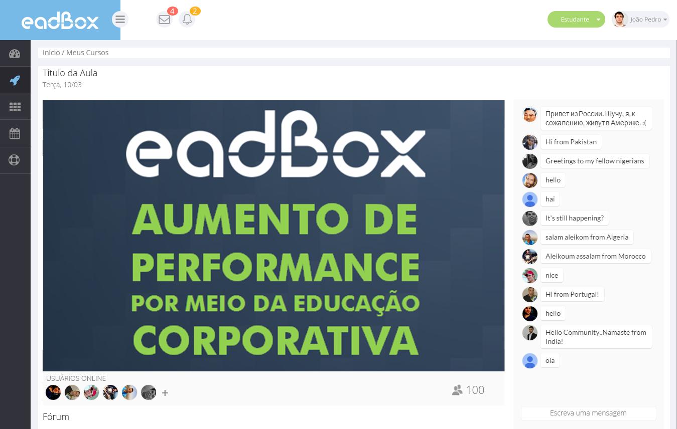 transmissão ao vivo de webinar na plataforma lms Eadbox
