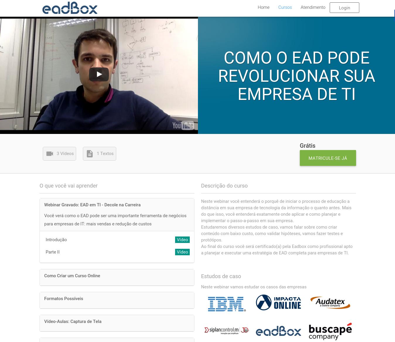 Landing Page de um webinar na academia da plataforma lms eadbox