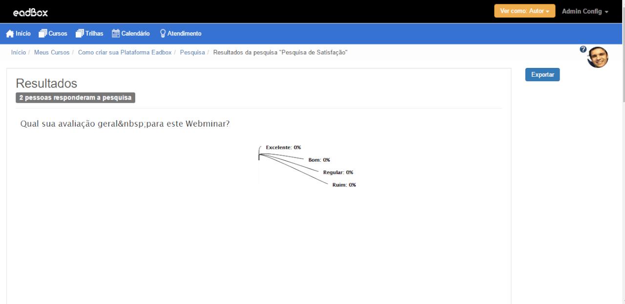 Tela de Resultados da pesquisa de satisfação criada na plataforma