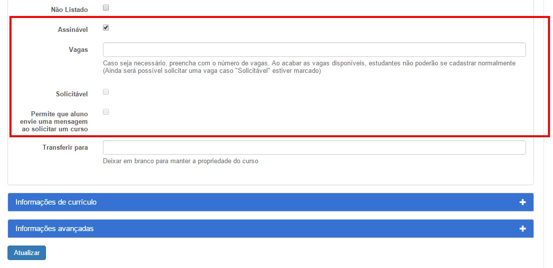 Opções gerenciamento nas matrículas