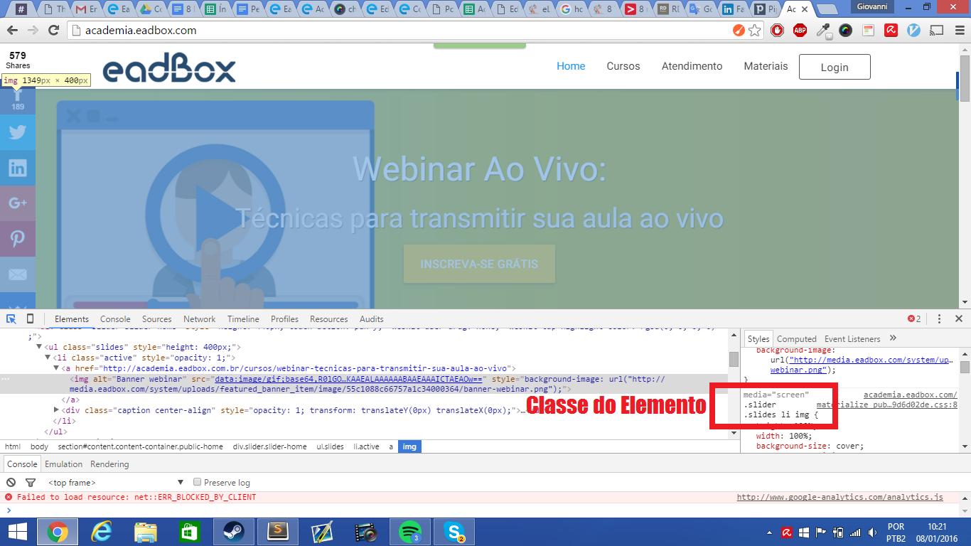 Inspecionando elemento no navegador.