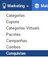"""Menu """"Marketing"""">""""Conquistas"""""""