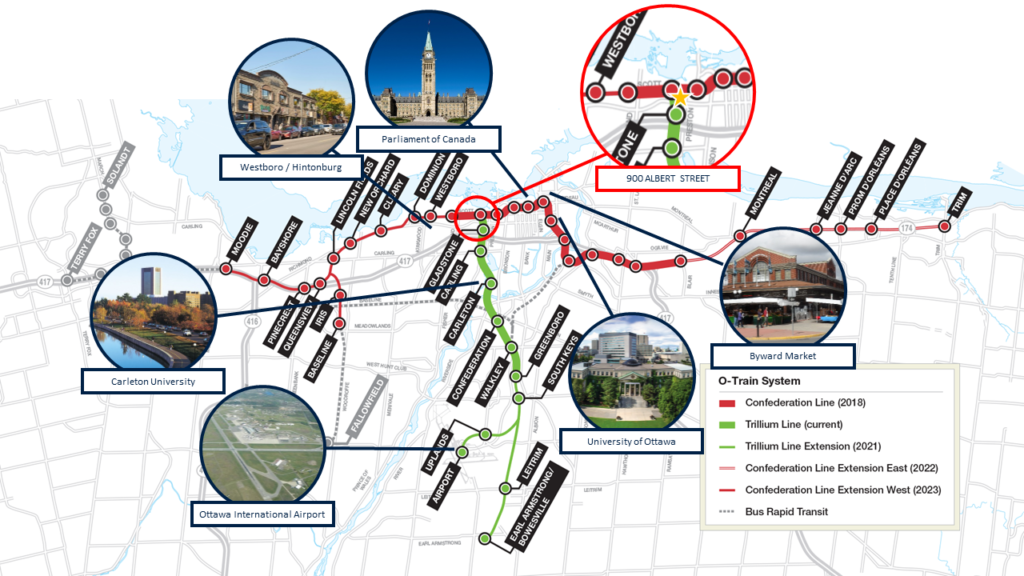 Ottawa LRT with Points of Interest