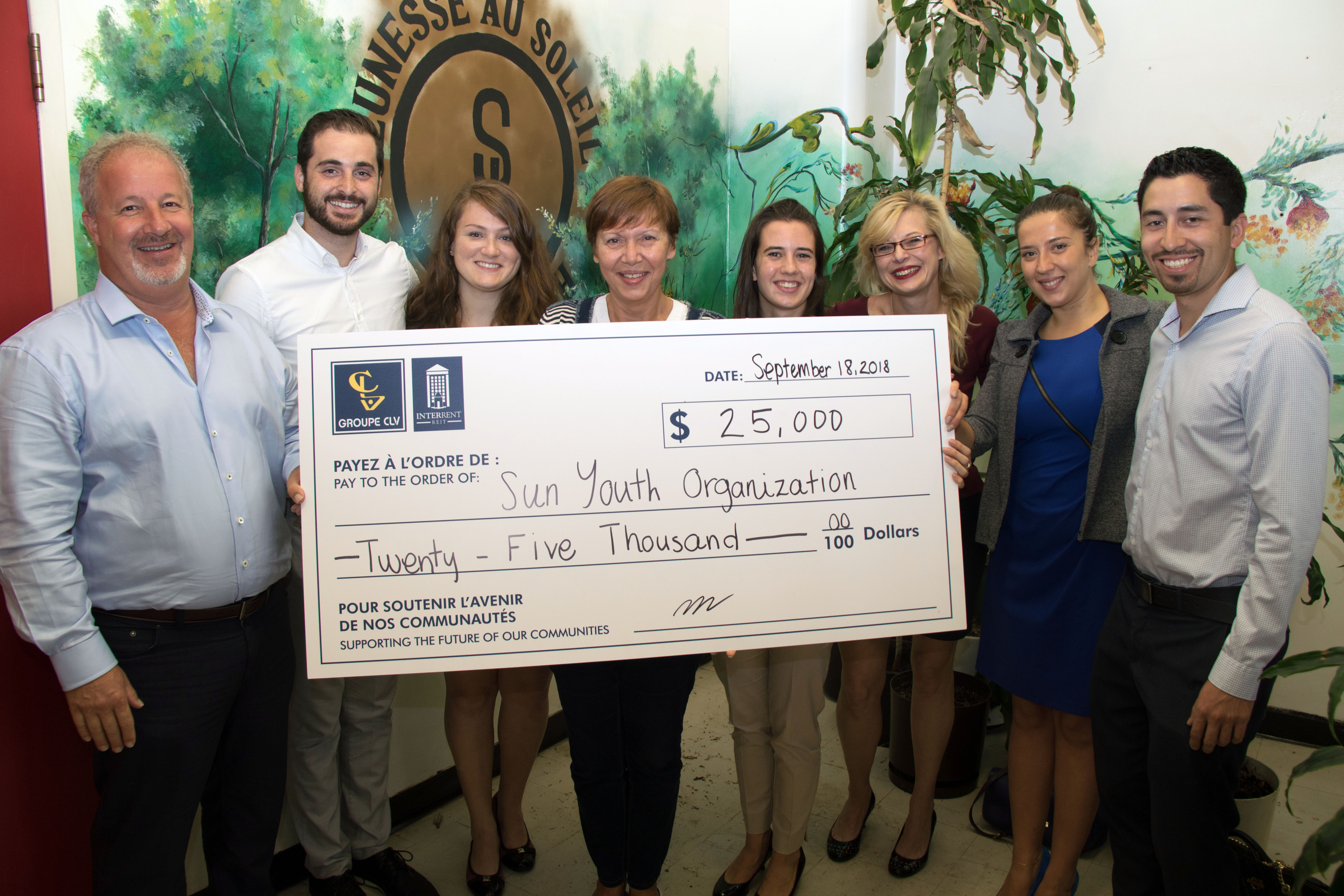 CLV Group and InterRent REIT Donate $25,000 to Sun Youth Organization-Featured Image
