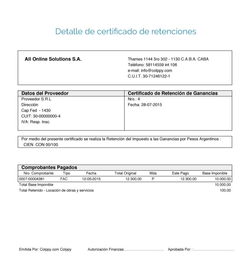 Detalle de certificado de retenciones